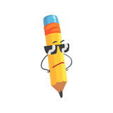Occhiali da sole d'uso del fumetto di giallo del carattere sveglio della matita, illustrazione divertente umanizzata di vettore d Immagini Stock Libere da Diritti
