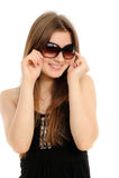 Occhiali da sole da portare della donna Immagini Stock