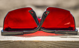 Occhiali da sole industriali rossi Fotografia Stock Libera da Diritti