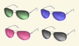 Occhiali da sole realistici, raccolta di vetro dell'occhio, su un fondo leggero Fotografia Stock