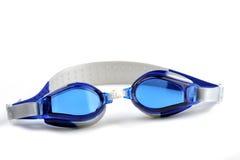 Occhiali di protezione blu di nuotata Fotografia Stock