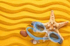 Occhiali di protezione blu di nuoto Fotografia Stock