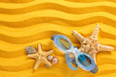 Occhiali di protezione blu di nuoto Immagine Stock