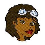 occhiali di protezione d'uso dell'aviatore della donna felice comica del fumetto Immagine Stock