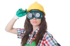 Occhiali di protezione da portare della donna Fotografia Stock Libera da Diritti