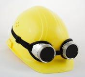 Occhiali di protezione della saldatura e dell'elmetto protettivo fotografia stock