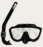Occhiali di protezione di immersione subacquea con la presa d'aria illustrazione vettoriale