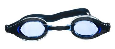 Occhiali di protezione di nuoto isolati su priorità bassa bianca Immagini Stock
