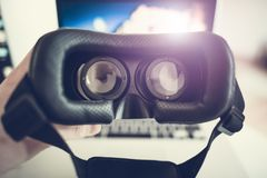 Occhiali di protezione di realtà virtuale 3D Fotografia Stock