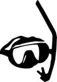 Occhiali di protezione e presa d'aria di immersione subacquea Immagine Stock