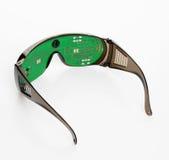 Occhiali di protezione futuristici del microchip Fotografia Stock
