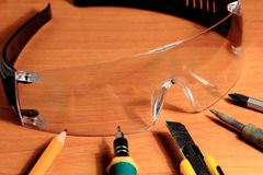 Occhiali di protezione, occhiali di protezione Fotografia Stock