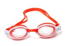 Occhiali di protezione per il nuoto sul fondo bianco Fotografia Stock