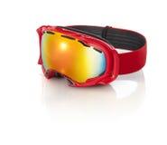 Occhiali di protezione rossi dello sci  Fotografia Stock