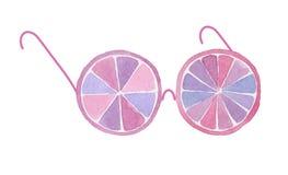 Occhiali divertenti dell'acquerello dalle fette di frutta su fondo bianco Fotografia Stock