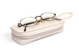 Occhiali e caso Fotografia Stock Libera da Diritti
