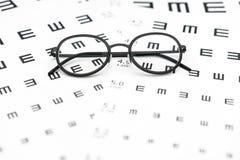 Occhiali e grafico di acuità visiva nel fondo bianco immagini stock