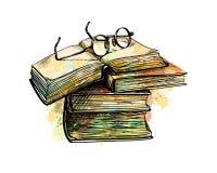 Occhiali sui libri superiori della pila royalty illustrazione gratis