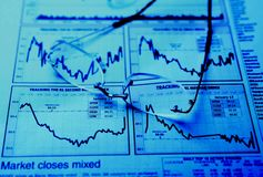 Occhiali sul diagramma degli stock Fotografia Stock
