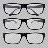 Occhiali Vetri per vista Occhiali realistici del nero dell'icona illustrazione di stock