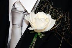 Occhiello bianco della Rosa Fotografia Stock Libera da Diritti