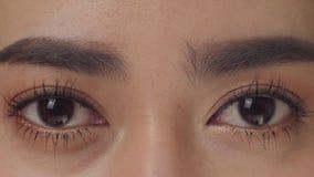 Occhio alto di fine di macro di bellezza che lampeggia al rallentatore video d archivio