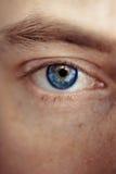 Occhio blu dell'uomo fotografie stock