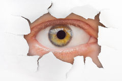 Occhio che osserva attraverso il foro su documento Fotografie Stock