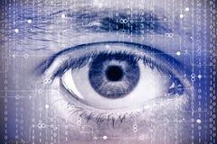 Occhio con lo schermo digitale Fotografie Stock