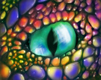 Occhio del drago verde Fotografia Stock