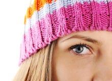 Occhio del primo piano di bella ragazza di inverno Fotografie Stock Libere da Diritti