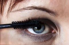 Occhio della donna con eyebrush. Fotografia Stock
