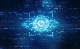 Occhio di Digital, concetto di sicurezza, concetto cyber di sicurezza immagine stock