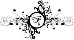 Occhio di Rha sulla decorazione floreale nel nero isolata Fotografia Stock