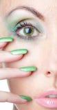 Occhio e chiodi della fine della donna in su Fotografia Stock Libera da Diritti