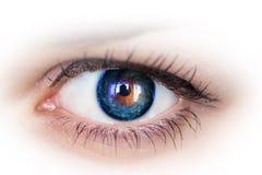 Occhio e galassia. Foto di concetto. fotografia stock libera da diritti