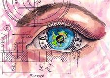 Occhio-orologio con la riflessione del mondo Vettore dell'acquerello Steampunk L'immagine simbolica dell'occhio con un orologio,  illustrazione vettoriale