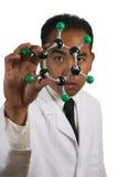 Occhio per chimica nella fine del cappotto del laboratorio sulla BG bianca Fotografia Stock Libera da Diritti