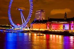Occhio RainbowNight di Londra Fotografie Stock
