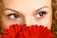 Occhio rosso del fiore fotografia stock