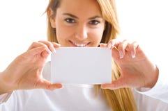 Occhio, scheda e sorridere Fotografie Stock Libere da Diritti
