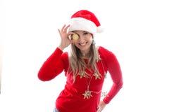 Occhio su Bitcoin Comprando o dare con Bitcoin al Natale Immagini Stock