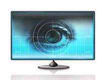 Occhio sul visualizzatore del computer Fotografie Stock