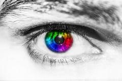 Occhio umano variopinto del primo piano immagini stock