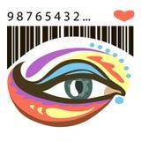 Occhio variopinto e codice a barre con cuore Fotografia Stock