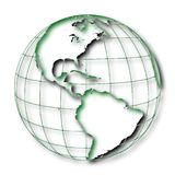 Occident of the earth: America. The western hemisphere of the earth North and South America on the globe royalty free illustration