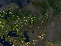 Occidental et l'Asie centrale la nuit sur terre de planète Photos libres de droits