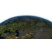 Occidental et l'Asie centrale la nuit sur terre de planète Images stock