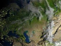 Occidental et l'Asie centrale sur terre de planète Images libres de droits