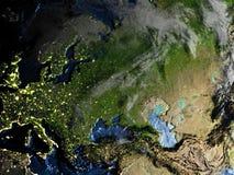 Occidental et l'Asie centrale sur terre la nuit - fond océanique évident Images stock